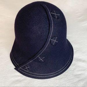 Liz Claiborne Wool Bucket Hat 4 Buttons Top Stitch